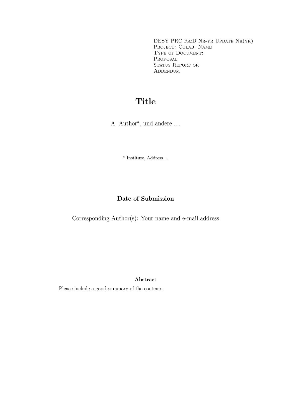 rules With Technical Report Cover Page Template